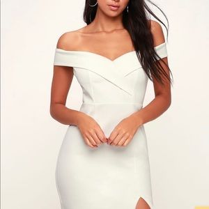 Glam White Off-the-Shoulder Bodycon Dress NWT